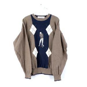 Vintage 90s Streetwear Argyle Print Golf Sweater